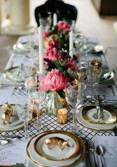 Rustic wedding table in chic gold decoration