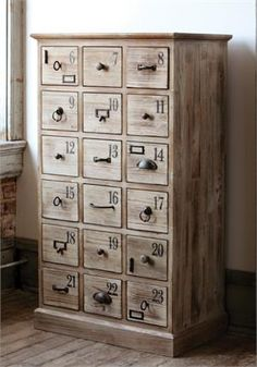 Tall Numerical Apothecary Cabinet  Love All Of The Different Drawer Pulls