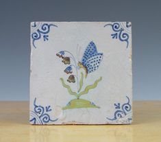 Antique RARE Superb Dutch Delft Tile Flower Butterfly Circa 1625 | eBay