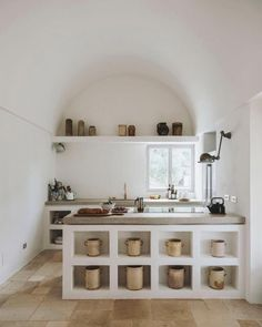 Great interior design, build in shelving and the arched interior architecture, beautiful kitchen by photography by… Farmhouse Kitchen Island, Rustic Kitchen, New Kitchen, Kitchen Decor, Kitchen Tables, Kitchen Sink, Küchen Design, House Design, Interior Architecture