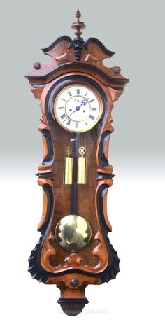 ~ Antique Double Weighted Vienna Wall Clock ~ antiques-atlas.com