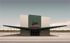 "liquors wamp - Geebird & Bamby | 'Using photorealism and graphic design, they create 'anonymous' buildings from what appears to be a parallel utopian universe, ""set in a time characterized by the conflict of Modernist and Postmodernist convictions"".'"