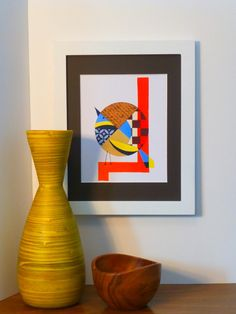 Minimalist Bird Wall Art Original Painting by COLBYandFRIENDS, $30.00