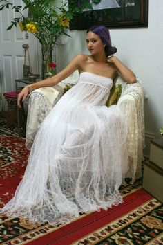 Edition limitée écrasé anglais sans bretelles robe de nuit mariée bohème Lingerie mariage gitane en filet de blanc de vêtements de nuit Lingerie de mariée mariage