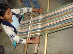 A backstrap loom is used to weave ethical, sustainable and eco friendly handcrafts by women in Guatemala Learn more about weaving on our Backstrap Weaving Trip Weaving Textiles, Tapestry Weaving, Loom Weaving, Hand Weaving, Weaving Techniques, Cold Porcelain, Ancient Art, Clay Art, Fiber Art