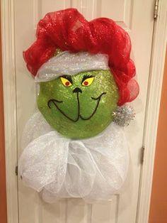 Grinch deco wreath