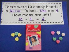 candy heart addition and subtraction word problems (Step Class Word Problems) School Holidays, School Fun, School Stuff, School Ideas, February Holidays, Winter Holidays, March, Valentines Day Activities, Valentine Ideas