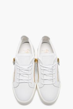 GIUSEPPE ZANOTTI WHITE leather LOW TOP zipped sneakers