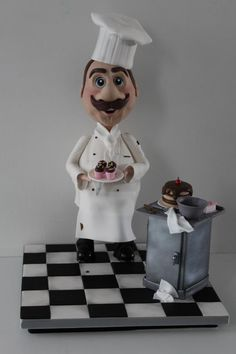 This is a cake I did for Catex earlier this year. It won gold and best in class. It was made with red velvet cake and stands at tall. It's one of my favourite cakes so far x Hamburger Cake, Fondant People, Cake Competition, Chef Cake, Cake Structure, Vegetable Cake, Gravity Defying Cake, Baker Cake, Pizza Cake