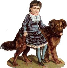 Oblaten Glanzbild scrap die cut  chromo Kind child Hund dog