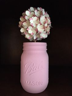 Rustic pink and cream paper hydreanga ball in hand painted mason jar  by SisterActDesigns on Etsy https://www.etsy.com/listing/236507349/rustic-pink-and-cream-paper-hydreanga