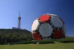 Football artwork in Dalian, China Dalian China, Soccer Ball, Football, Shape, Places, Artwork, Travel, Soccer, Futbol