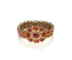 Bracelet Date: ca. 1800 Geography: North India, Jaipur Medium: Gold; set with rubies and diamonds; enamel on reverse