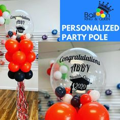 Our personalized party poles stand feet tall. These are great for porch decor or in the yard for your drive by Parades! Bubble Balloons, Big Balloons, Confetti Balloons, Baby Shower Balloons, Birthday Balloons, Balloon Columns, Balloon Arch, Balloon Garland, Balloon Decorations