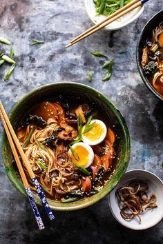 Feel Good Spicy Ramen with Sweet Potatoes and Crispy Shallots | halfbakedharvest.com #noodles #ramen #healthyrecipes #sweetpotatoes #winterrecipes #soup