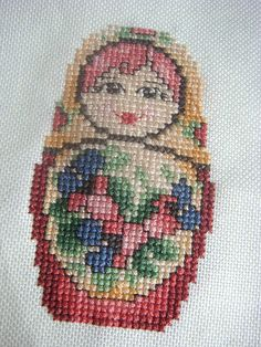 Matryoshka Russian doll cross stitch
