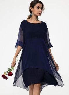 Chiffon Solid Half Sleeve Mid-Calf Casual Dresses (1056338) @ floryday.com