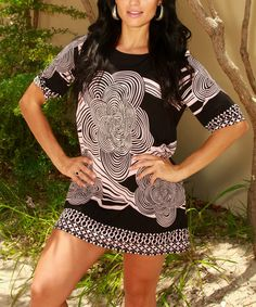 Another great find on #zulily! Pink & Black Floral Tunic #zulilyfinds