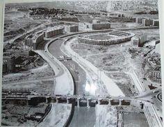 construcción del estadio Vicente Calderón (y sin M-30) 1961