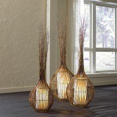 """NATURAL BAMBOO LAMPS - MEDIUM 16"""" DIA. 56""""H"""