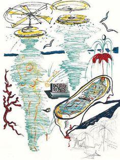 """Liquid Tornado Bathtub 1973"" 1975 Salvador Dali Spain • Limited Edition Print • Lithograph on Paper Size : 28 x 21 in  |  71 x 53 cm  http://zaidan.ca/Art_Gallery/Dali/Dali.htm"