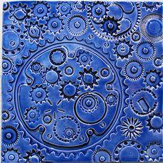 Blue Sky Gears - tile by Jason Messinger Art - #art #tile #ceramic