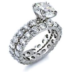 Sterling Silver CZ Round Cut Pave Band Engagement Wedding Ring Set 2ct