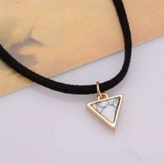 Short Black Velvet Choker Necklaces With Triangle Faux Stone For Women