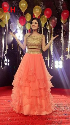 Peach Ruffle Embroidered Attractive Net Semi-Stitched Lehenga Choli - All About Clothes Party Wear Indian Dresses, Indian Wedding Gowns, Indian Gowns Dresses, Wedding Dresses For Girls, Bridal Dresses, Lehenga Choli Wedding, Party Wear Lehenga, Net Lehenga, Kids Lehenga