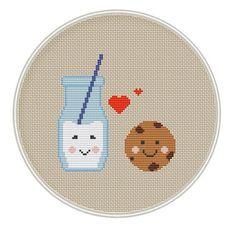 Milk and Cookie Cross Stitch Pattern, Kawaii Cross Stitch Pattern, cross stitch PDF, MCS056