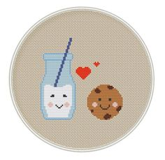Milk and Cookie Cross Stitch Pattern, Kawaii Cross Stitch Pattern, cross stitch PDF, MCS056
