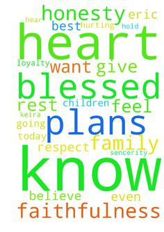 Dear God  I know the plans you have for me are the - Dear God I know the plans you have for me are the best for me, I believe in you with my heart I pray Eric does too I pray for his daughter Alaina and my children cuben and Keira, lord we are all blessed and loved, I pray that with all in our hearts that is going on we have truth respect loyalty honesty faithfulness and I pray sencerity lord I know you hear my heart I know you will help us please I pray, as today I been hurting but I am…
