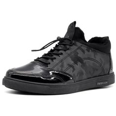 Patent Leather Camouflage Pattern Casual Shoes (60 BAM) ❤ liked on Polyvore featuring shoes, black shoes, kohl shoes, tie shoes, camouflage footwear and camouflage shoes