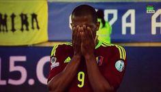 Rondón llorando al finalizar el partido, aquí se resume la alegría de un país.