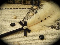 Ivory Ostrich Feather Pen with Victorian-look Cameo.