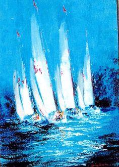 """KERRY HALLAM, """"Sail Days"""", acrylic on canvas"""