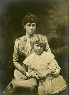 Queen Mary with her daughter, Princess Mary.
