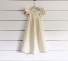 Ivory linen baptism dress ivory blessing dress ivory christening dress baby christening dress long baby christening dress white baby dress