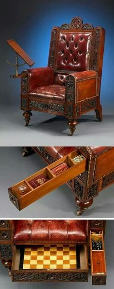 Victorian chair with built-in games. Tried to locate original same as the pinner before me, but can't seem to find the same compiled image. Beautiful Chair, could add to a Steampunk room. Swap the games out for gadgetry! Victorian Chair, Victorian Furniture, Unique Furniture, Victorian Homes, Victorian Era, Vintage Furniture, Furniture Design, Steampunk Furniture, Steampunk Interior