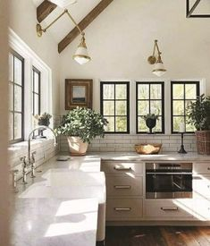 Rustic Farmhouse Kitchen Design Ideas - Farmhouse kitchen style will be perfect idea if you want to have family gathering in your kitchen during meal time. There are a lot of ideas in decora. Farmhouse Kitchen Island, Modern Farmhouse Kitchens, Rustic Farmhouse, Kitchen Modern, Farmhouse Ideas, Magnolia Homes, Black Kitchen Faucets, Kitchen Fixtures, Kitchen Tile