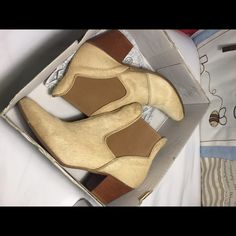 Anthropologie ankle booties. Calf hair and leather, tan and beige, neutral all year round / dress/jeans/rolled up joggers / skirts. Excellent like new condition. Shoes Ankle Boots & Booties