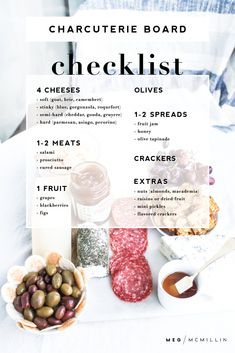 how to: make an easy charcuterie board – Meg McMillin - Recipes - FingerFood İdeen Charcuterie Recipes, Charcuterie And Cheese Board, Charcuterie Platter, Crudite Platter Ideas, Charcuterie Wedding, Antipasti Board, Grazing Platter Ideas, Charcuterie Spread, Antipasto Platter