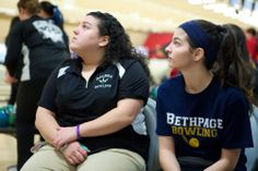 Deanna Rosenberg of Marmingdale (left) and Carly Licht of Bethpage look on during the boys and girls Nassau individual bowling championships at Garden City Lanes on Saturday, Feb. 8, 2014 (Credit: Stevey Ryan)