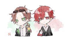Urata and Aho no Sakata Kawaii Chibi, Anime Chibi, Anime Art, Vocaloid, Unknown Picture, Nichijou, Fanart, Ensemble Stars, Cute Anime Guys
