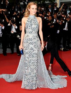 Blue is Trending at Cannes 2015. Best Dressed: Diane Kruger in Prada pastel blue long train embellished gown at 'Maryland' Premiere Cannes Film Festival 2015. #Cannes2015