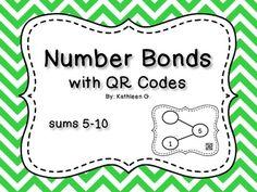 Number Bonds with QR Codes-sums Learning Resources, Teaching Tools, Teaching Math, Teacher Resources, Kindergarten Teachers, Math Classroom, Classroom Organization, Indoor Activities, Math Activities