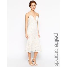 Jarlo Petite Alicia Bandeau Midi Dress In All Over Lace (59 CAD) ❤ liked on Polyvore featuring dresses, cream, petite, white v neck dress, lace dress, white dress, petite dresses and petite lace dress