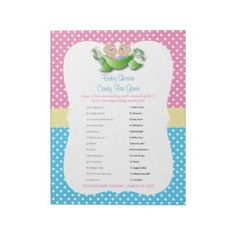 Twin Baby Shower - Two Peas In A Pod Candy Game Notepad - baby gifts child new born gift idea diy cyo special unique design