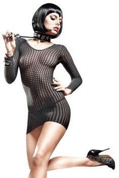 Vestido baci de rejilla con manga larga negro Sexualis.es