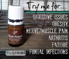 Young Living's Black Pepper. Try me for digestive issues, obesity, nerve/muscle pain, arthritis, fatigue, fungal infections. Heartfelt Hullabaloo #essentialoils